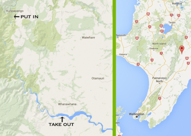 Left: the rapid-riddled 39K stretch of Ngaruroro River. Right: pin drop shows region of New Zealand