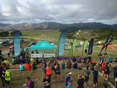 The finish line at XTERRA Makara Wind Farm